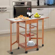 Folding Kitchen Cart by Homcom Folding Rolling Trolley Kitchen Cart Table Island With
