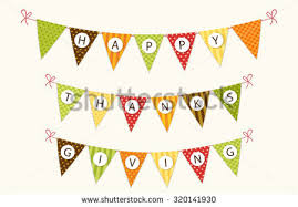 thanksgiving bunting flags letters traditional stock vector