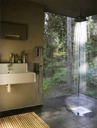 Grey Slate Tile Bathroom Eclectic 3 4 Bathroom With Wall Mounted Sink U0026 Rain Shower Head