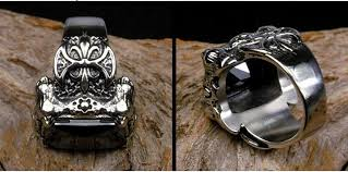 man steel rings images Punk gothic real stainless steel ruby ring men 39 s big red stones jpg