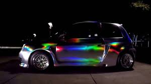 holographic car holographic silver wrap car night awesome 2017 youtube