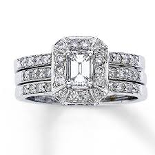 kay jewelers coupons jared diamond bridal set 1 1 8 ct tw emerald cut 14k white gold