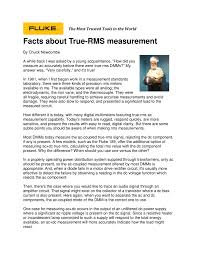 facts about true rms measurement