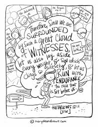 surrounded witnesses hebrews 12 1 bible verse coloring