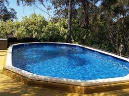 Deep Backyard Pool by Semi Inground Pool With Deep End Backyard Design Ideas