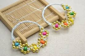 How To Make Jewelry Beads At Home - make flower hoop earrings with colorful wood beads step by step