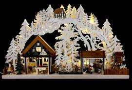 3d candle arch christmas bakery with walki figures 72 43 cm 28
