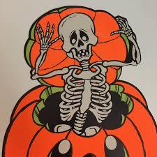 vintage halloween pumpkin decoration skeleton skull jack o lantern