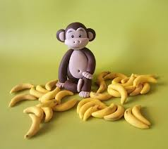 monkey cake topper fondant monkey cake topper set 1 monkey 35 bananas g 2ns