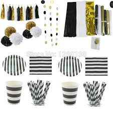 black and white striped tissue paper black gold white party paper tableware and decoration supplies