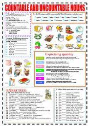 Count And Noncount Nouns Exercises Elementary Exercises Countable And Uncountable Nouns