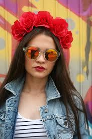 neon red rose flower crown headband halloween costume day of