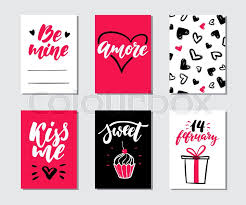 printable romantic gift certificates valentines day gift card vector set hand drawn printable templates