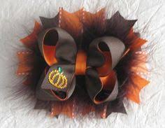 thanksgiving hair bows pumpkin bow fall bow thanksgiving bow fluffy stacked boutique bow