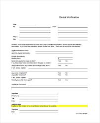 rental verification form printable sample rental applications