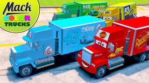 mack trucks disney color cars kids videos children