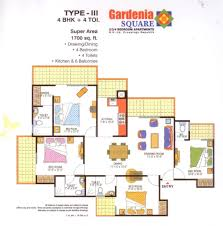 gardenia square 1700 sq ft 4 bedroom 4 toilet square floor plan
