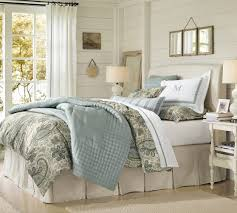 Porcelain Blue Duvet Cover Pleated Button Bed Skirt Pottery Barn Brushed Canvas Natural