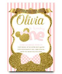 minnie mouse birthday invitation pink and gold