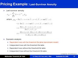 joint survivor annuity tables h chen s h cox and j wen longevity 5 conference september 26