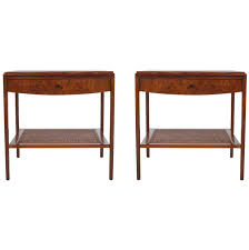 John Boos Table Mid Century Modern Walnut And Cane End Tables Or Nightstands By