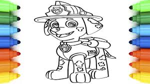 how to draw marshall paw patrol coloring pages for kids