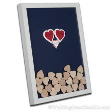 wedding guest book picture frame center heart drop in wedding guest book three heart shadowbox