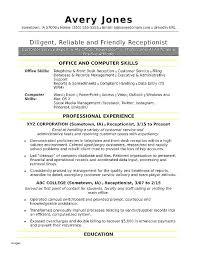 Front Desk Officer Receptionist Resume Skills Front Desk Receptionist Resume Sle