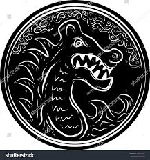 viking dragon head round pattern waves stock vector 499716352