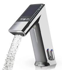 electronic lavatory faucet by iqua with sensor display showing