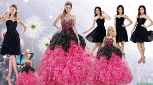 ruffles and beading multi color quinceanera gown and black