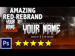 free amazing red rebrand youtube banner twitter cover photoshop