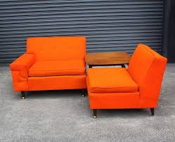 Vintage Mid Century Sofa Small Orange 2 Piece Mid Century Sofa Perfect Fremont