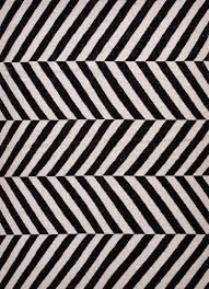 Black And White Modern Rug Herringbone Moroccan Salma Wool Rug Black White