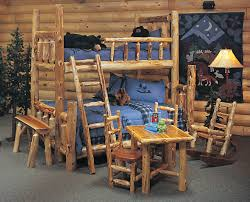 Wooden Log Beds Bedroom Ideas Rustic Log Cabin Bunk Bed With Stair Added Table