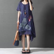 2017 summer new national wind loose large size women u0027s printed
