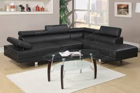 Faux Leather Sectional Sofa Poundex F7310 Black Faux Leather Sectional Sofa Set