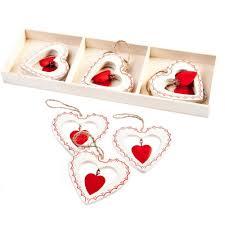 gisela graham christmas set of 9 nordic heart christmas tree