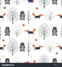 cute autumn backgrounds fox bear autumn trees mushroom seamless stock vector 493914919