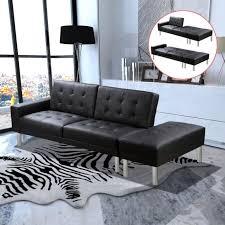 canapé lit cuir noir p160 canape lit cuir artificiel noir achat vente canapé sofa