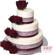 1921 3 tier wedding cake with red roses abc cake shop u0026 bakery