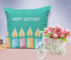 birthday gifts tiedribbons printed cushion with artificial flower and cycle