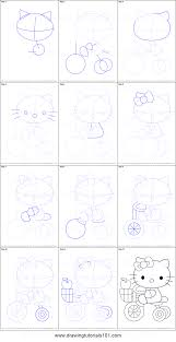 draw kitty tricycle printable step step drawing