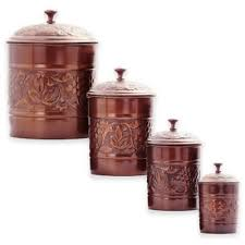 copper kitchen canister sets buy copper canister set from bed bath beyond