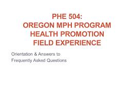 phe 504 oregon mph program health promotion field experience