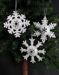 white glitter metal snowflake ornament ornaments
