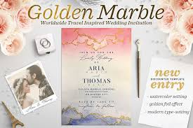 wedding invitation bundles golden marble wedding invitation i by t design bundles