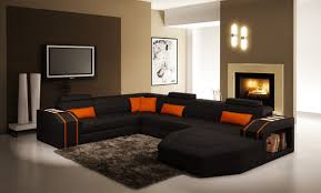 casa 5038 modern black and orange leather sectional sofa
