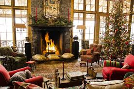 modern christmas living room granite fireplace surround mantel