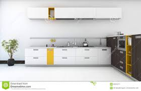 3d rendering minimal and modern yellow kitchen with oven in white